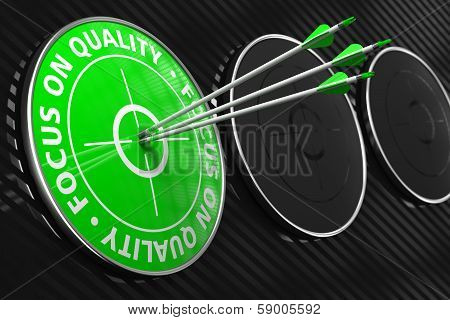 Focus on Quality Slogan - Green Target.