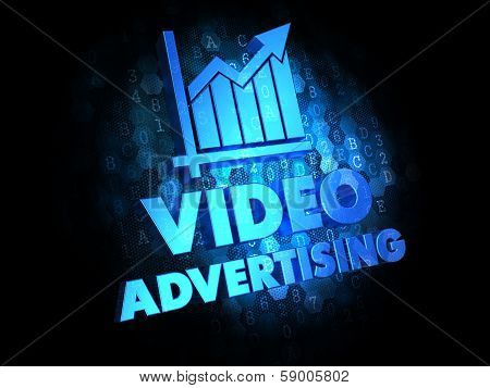Video Advertising on Dark Digital Background.