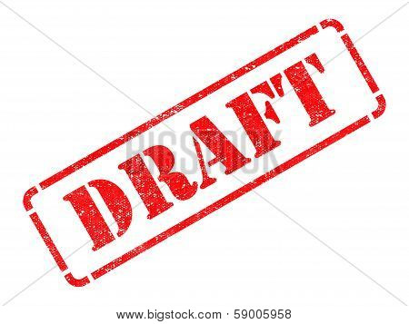 Draft inscription on Red Rubber Stamp.