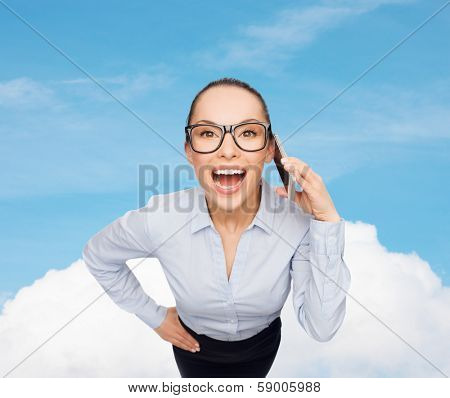 business, technilogy, communication and office concept - businesswoman in eyeglasses with smartphone talking to someone