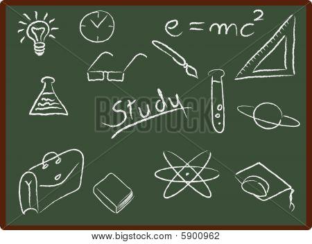 Schule-Ikonen auf Tafel