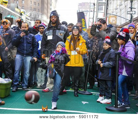Little girl tries for a field goal