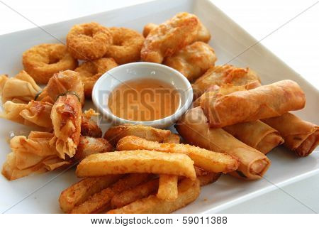mixed fried appetizers, starter of Asian dish