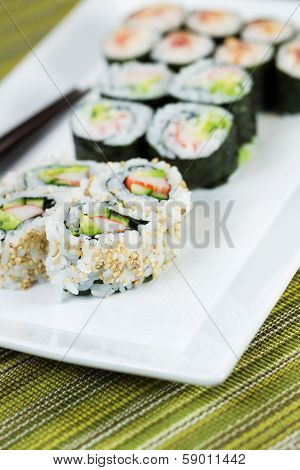 Plate Filled With Sushi Rolls