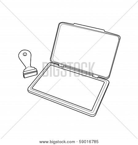 Ink Pad With Rubber Stamp Outline Vector.eps