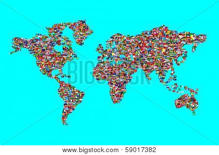 Illustration of World Map made  from World Flags