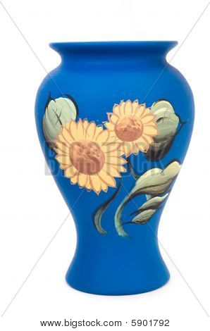 Pottery with sunflower painting