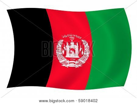 Illustration of Aphganistan flag waving in the wind