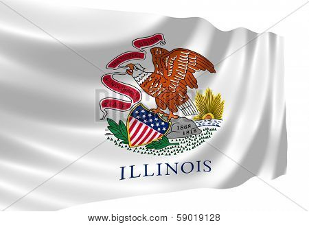 Illustration of Illinois state flag waving in the wind