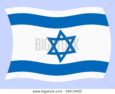 Illustration of Israel flag waving in the wind, vector
