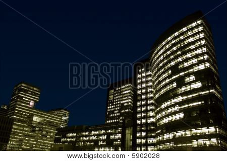 Office buildings at night