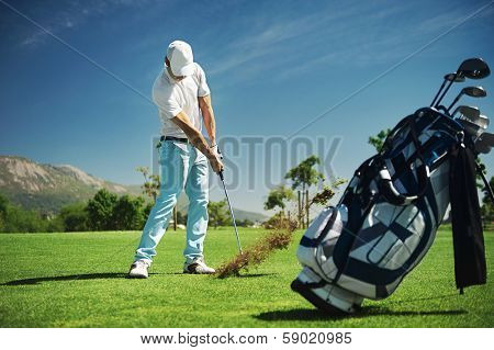 Golf shot on course in fairway on vacation