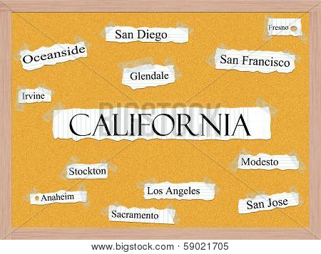 California State Corkboard Word Concept