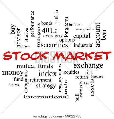 Stock Market Word Cloud Concept In Red Caps