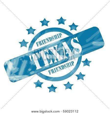 Blue Weathered Texas Stamp Circle And Stars Design