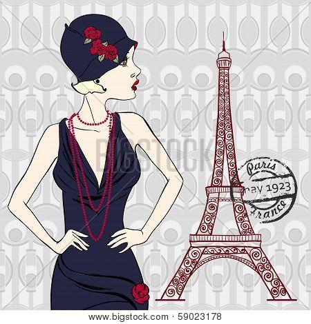 Vector Fashionable woman near Eiffel Tower