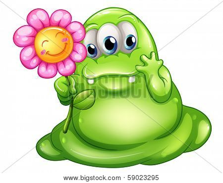 Illustration of a caring greenslime monster on a white background