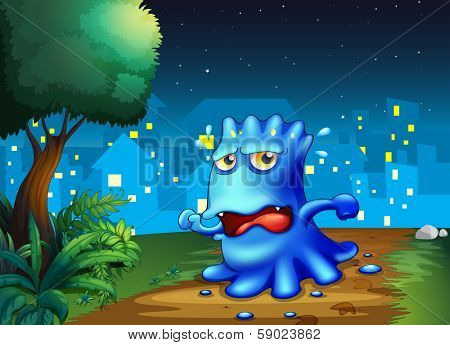 Illustration of a scared monster strolling in the city