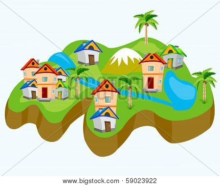 Drawing of the land with house