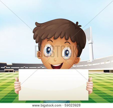 Illustration of a smiling boy holding an empty signage at the soccer field