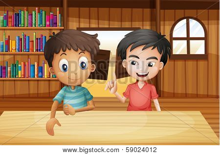 Illustration of the two boys inside the saloon bar with books