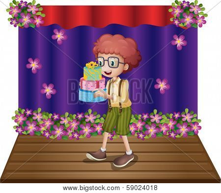 Illustration of a stage with a young boy holding gifts on a white background