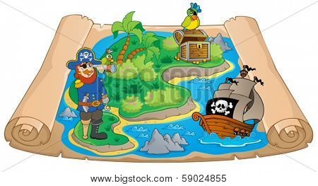 Treasure map topic image 7 - eps10 vector illustration.