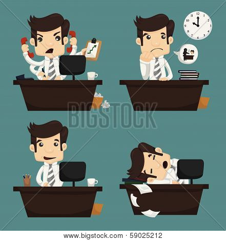 Set Of Businessman Sitting On Desk , Office Worker