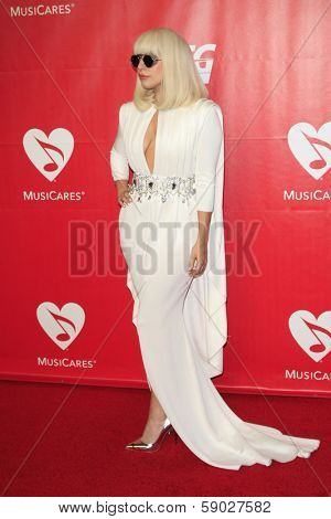 LOS ANGELES - JAN 24:  Lada Gaga at the 2014 MusiCares Person of the Year Gala in honor of Carole King at Los Angeles Convention Center on January 24, 2014 in Los Angeles, CA