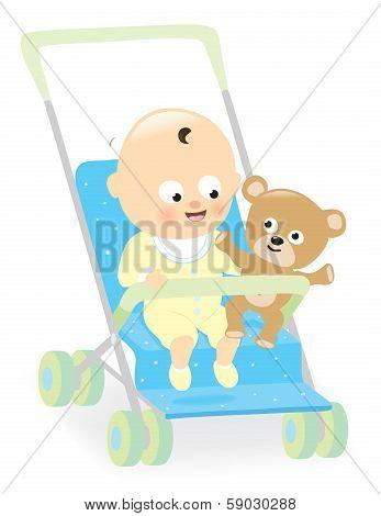 Baby boy in stroller with teddy bear