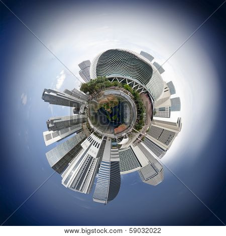 Singapore downtown skyline with skyscrapers, 360 degree miniplanet (Elements of this image furnished by NASA)