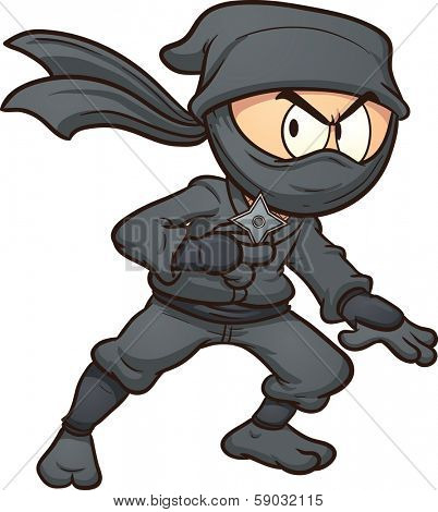 Cartoon ninja holding a star. Vector clip art illustration with simple gradients. All in a single layer.