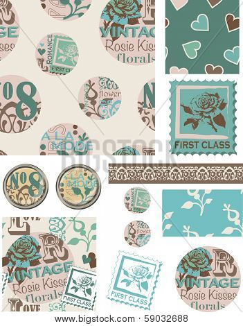 Floral Circle Vintage Inspired Vector Seamless Patterns and Elements. Use as fills, digital paper, or print off onto fabric to create unique items.