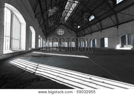 An Empty Desolate Industrial Building Inside