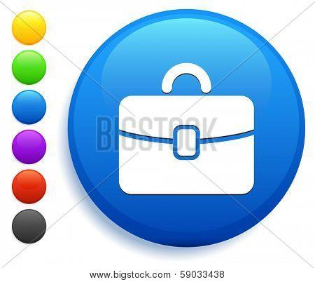 Brief Case Icon on Round Button Collection
