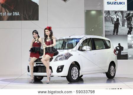 Bangkok - March 26 : White Suzuki Car With Unidentified Models On Display At The 34Th Bangkok Intern