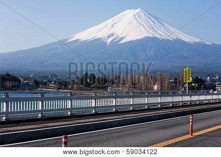 Mount Fuji On Bridge
