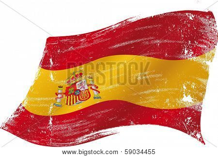Spanish flag with a texture in the win