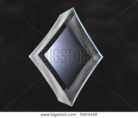 diamond symbol in transparent glass on black background