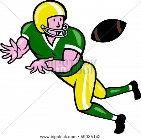 American Football Wide Receiver Catch Ball Cartoon