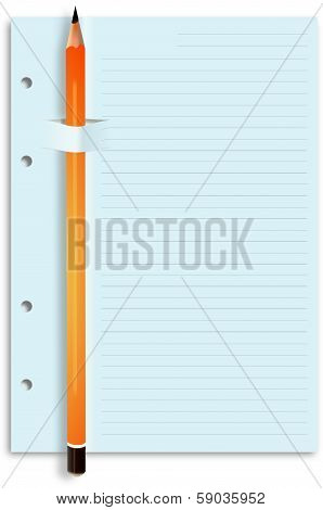 Yellow pencil on sliced lined paper feint