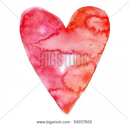 Valentines day love heart watercolor isolated on white background
