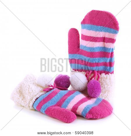 Striped mittens isolated on white