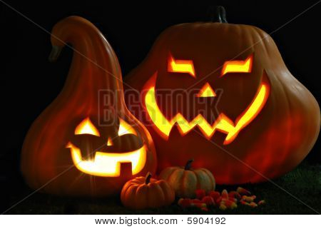 Jack O Lanterns On Grass