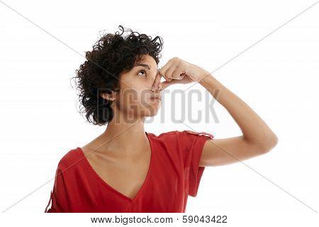 Hispanic Young Woman Holding Breath