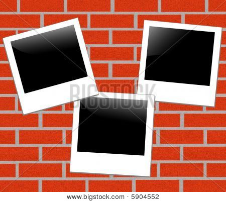 brickwall background with a photo frame