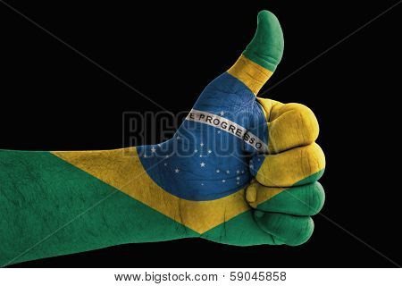 Brazil flag painted on hand
