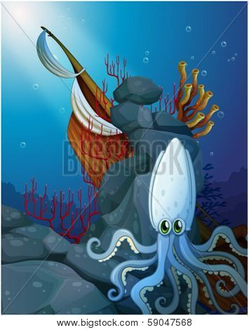 Illustration of an octopus under the sea near the wooden boat on a white background