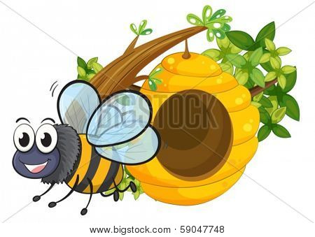 Illustration of a smiling bee beside the beehive on a white background