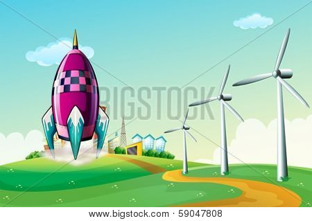 Illustration of a spaceship near the windmills